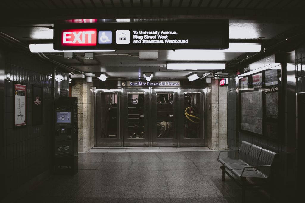 A dark subway station