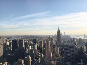 New York City skyline of the empire state building and many buildings surrounding it