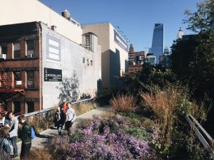 a picture of the chelsea highline with people walking past flowers and bushes, a building with a fire escape on the side and skyscrapers in the background