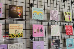 close up of Hana Shafi's artwork inside the Lost Words artshow exhibit