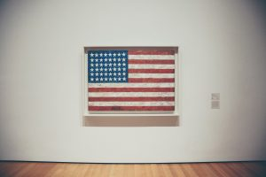 The american flag on a wall