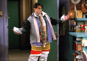 joey from 'Friends' dressed in several layers