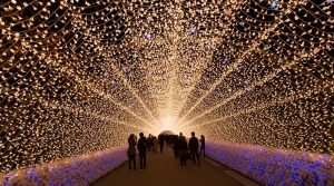 a group of people walking through an arch of lights at the light festival in Toronto