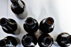 Empty bottles of beer on a table