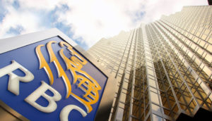 A view of the RBC sign and plaza from the bottom up