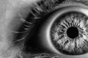 Close-up of an eye, in black and white
