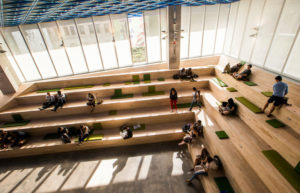 A birds-eye-view of the SLC Amphitheatre with students on the stairs
