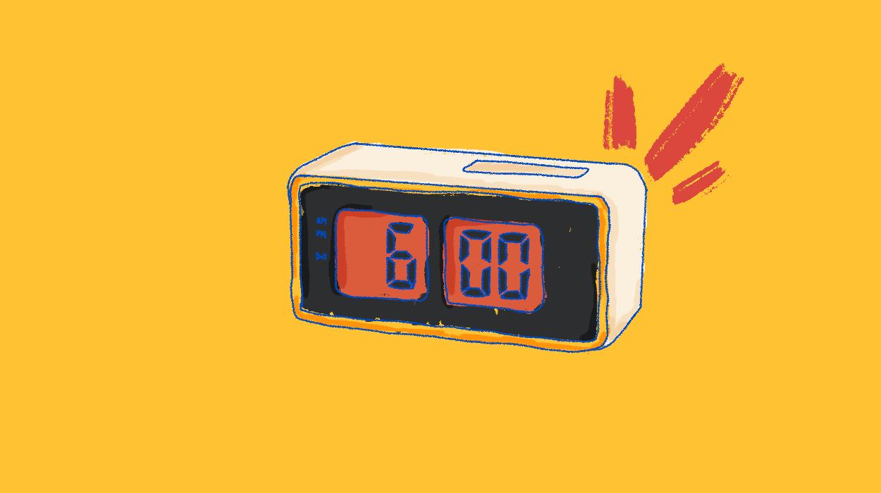 An alarm clock ringing