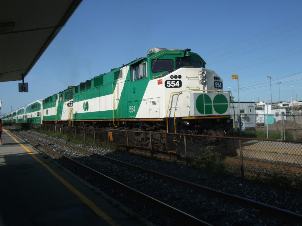 Go Train pulling into the station