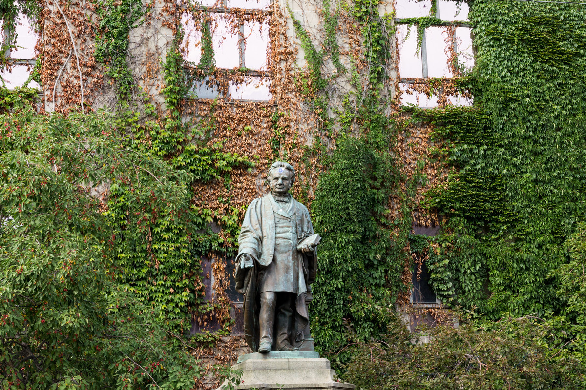 The statue of Egerton Ryerson on campus.