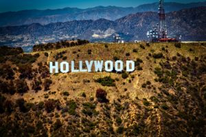 A photo of the Hollywood sign in California