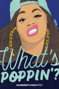 """A graphic illustration of Cardi B and the text """"What's Poppin?"""""""
