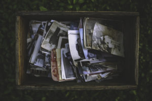 A box of old photographs
